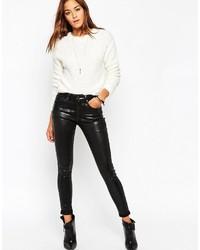 Jeans aderenti in pelle neri di Asos