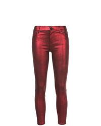 Jeans aderenti in pelle rossi