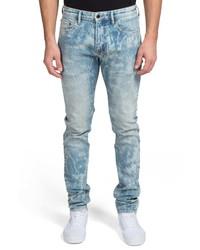 Jeans aderenti lavaggio acido azzurri