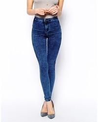 Jeans aderenti lavaggio acido blu