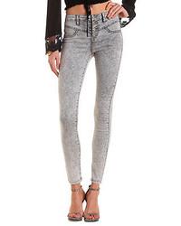 Jeans aderenti lavaggio acido grigi