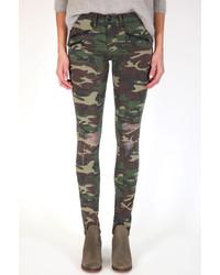 Jeans aderenti mimetici verde scuro