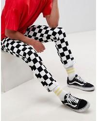 Jeans aderenti neri e bianchi