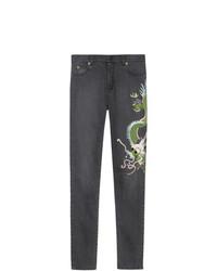 Jeans aderenti ricamati neri di Gucci