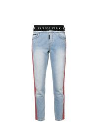 Jeans aderenti stampati azzurri di Philipp Plein