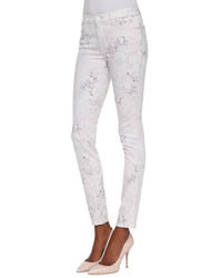 Jeans aderenti stampati bianchi