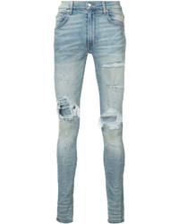 Jeans aderenti strappati azzurri