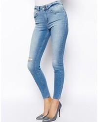 Jeans aderenti strappati azzurri di Asos