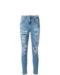 Jeans aderenti strappati azzurri di Dondup