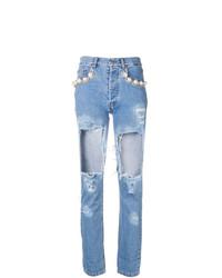 Jeans aderenti strappati azzurri di Forte Dei Marmi Couture