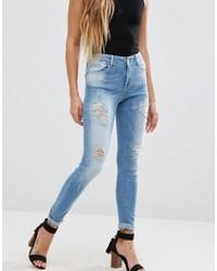 Jeans aderenti strappati azzurri di Only