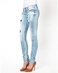 Jeans aderenti strappati azzurri di Pepe Jeans