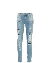 Jeans aderenti strappati azzurri di PIERRE BALMAIN