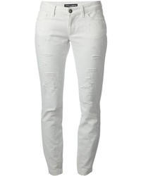 Jeans aderenti strappati bianchi