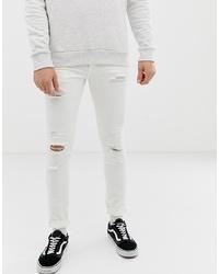 Jeans aderenti strappati bianchi di Jack & Jones