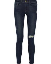 Jeans aderenti strappati blu scuro