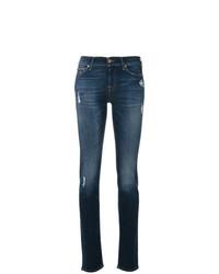 Jeans aderenti strappati blu scuro di 7 For All Mankind