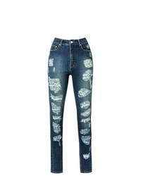 Jeans aderenti strappati blu scuro di Amapô