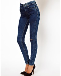 Jeans aderenti strappati blu scuro di Asos