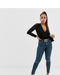 Jeans aderenti strappati blu scuro di Asos Petite