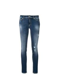 Jeans aderenti strappati blu scuro di Dondup