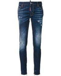 Jeans aderenti strappati blu scuro di Dsquared2