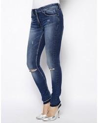 Jeans aderenti strappati blu scuro di Religion