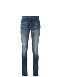 Jeans aderenti strappati blu scuro di Saint Laurent