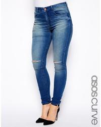Jeans aderenti strappati blu di Asos Curve