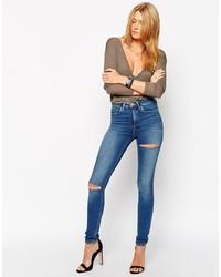 Jeans aderenti strappati blu di Asos