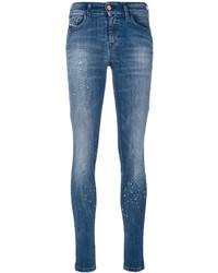Jeans aderenti strappati blu di Diesel