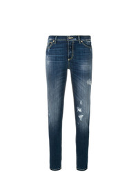Jeans aderenti strappati blu di Dondup