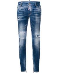 Jeans aderenti strappati blu di Dsquared2