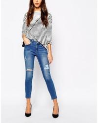 Jeans aderenti strappati blu di Oasis