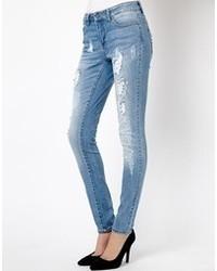 Jeans aderenti strappati blu di Only
