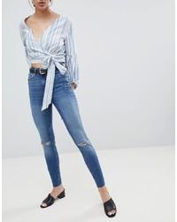 Jeans aderenti strappati blu di Pieces