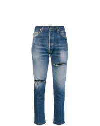 Jeans aderenti strappati blu di RE/DONE