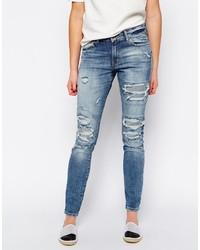 Jeans aderenti strappati blu di Vero Moda