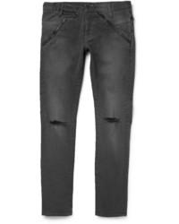 Jeans aderenti strappati grigio scuro