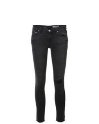 Jeans aderenti strappati grigio scuro di AG Jeans