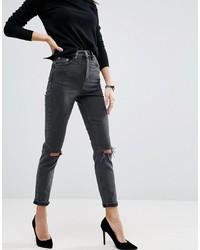 Jeans aderenti strappati grigio scuro di ASOS DESIGN