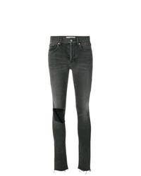 Jeans aderenti strappati grigio scuro di Balenciaga