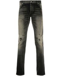 Jeans aderenti strappati grigio scuro di Balmain