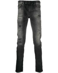 Jeans aderenti strappati grigio scuro di Diesel