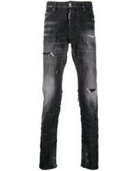 Jeans aderenti strappati grigio scuro di DSQUARED2