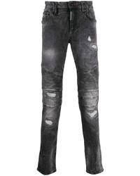 Jeans aderenti strappati grigio scuro di Philipp Plein