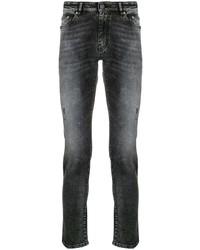 Jeans aderenti strappati grigio scuro di Pt01