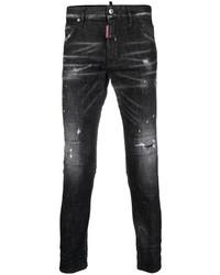 Jeans aderenti strappati neri di DSQUARED2