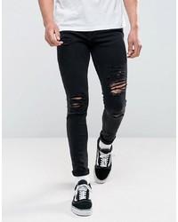 Jeans aderenti strappati neri di Jack & Jones