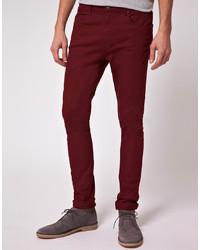 Jeans bordeaux di Asos